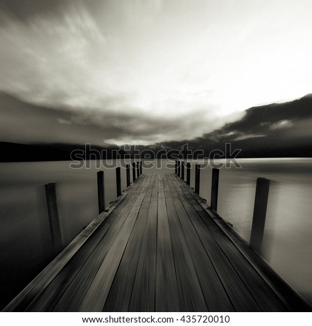 Tranquil Peaceful Lake at Sunrise Concept - stock photo