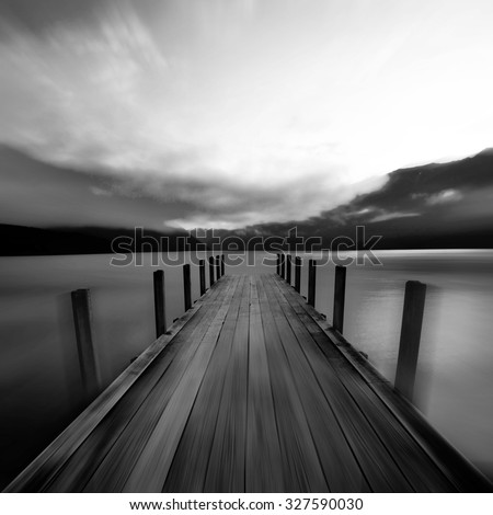 Tranquil Peaceful Lake at Sunrise New Zealand Concept - stock photo
