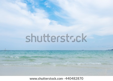 Tranquil scene of idyllic beach with blue sea and white sand at Sai Kaew beach in Samet island, Rayong, Thailand. - stock photo