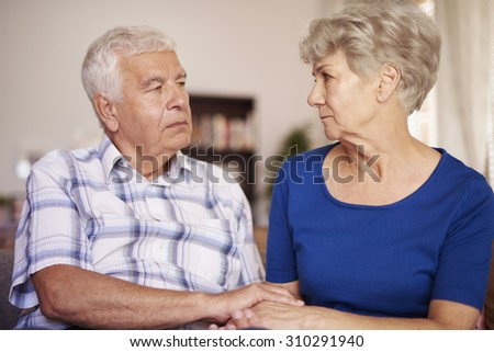 Tranquil scene of senior marriage  - stock photo