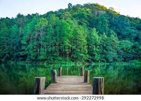 Tranquil scene of wooden pier in natural Huai Makhuea Som lake. The scene is in tropical forest of Mae Hong Son province, Northern Thailand - stock photo