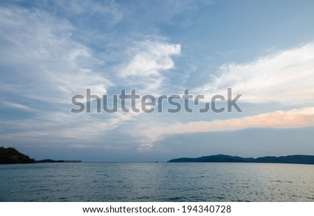 Tranquil sea and beautiful sky in sunset time