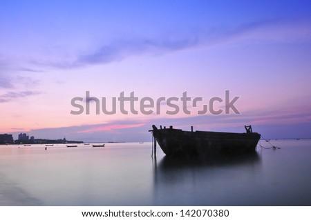 Tranquil sunset seascape Pattaya Thailand. - stock photo