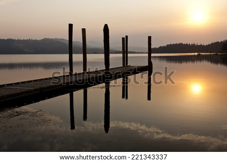 Tranquil warm sunrise over Chatcolet Lake in north Idaho.