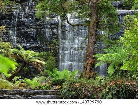 Tranquil Waterfalls of Tasmania - stock photo