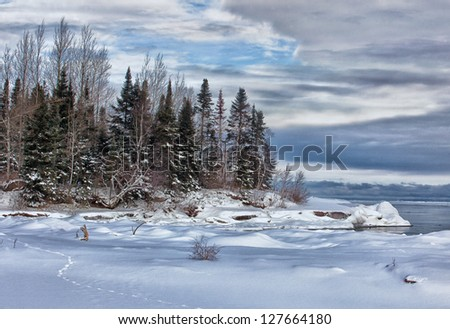 Tranquil, winter, scenic landscape on the south shore of Lake Superior. - stock photo