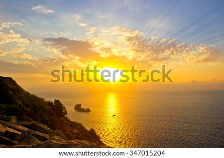 Tranquility seascape of Black sea with beautiful cloudy sky, Crimea. Top view - stock photo