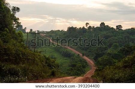 Trans-Amazonian Highway in Brazil - stock photo