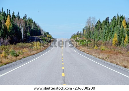 Trans Canada Highway near Superior Lake, Ontario, Canada - stock photo