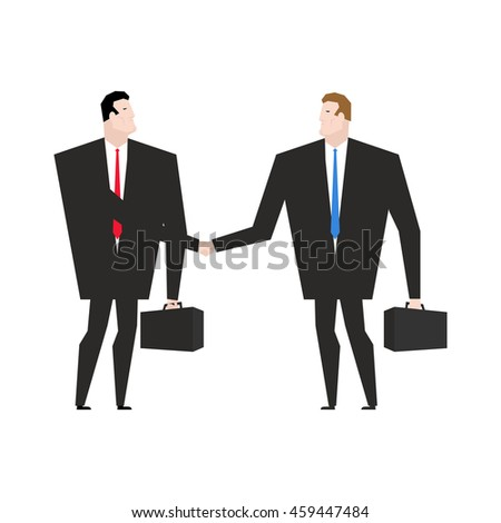 Transaction business. Managers shaking hands. Handshake office workers. Agreement between directors. Man in business suit and briefcase - stock photo