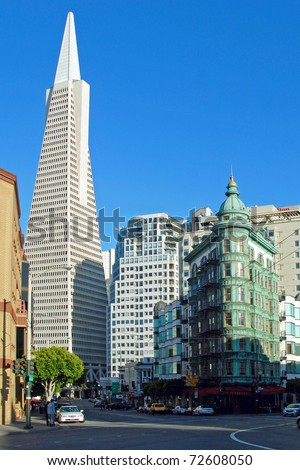 Transamerica pyramid bank building in San Francisco.