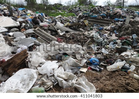 Transcarpathia, Ukraine - April 20, 2016: Garbage dump