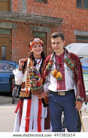 "TRANSCARPATHIA, UKRAINE - MAY 15, 2016: In the annual Hutsul ethno festival ""Berlibashsky Banush"" , May 15, 2016 in Kostylivka, Zakarpattya, Ukraine."