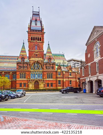 Transept of Memorial Hall of Harvard University and Cambridge Fire Department, Massachusetts, USA. The Hall was built in honor of men who died during the American Civil War. - stock photo