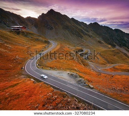 Transfagarasan winding road in Fagaras Mountains, Romania.