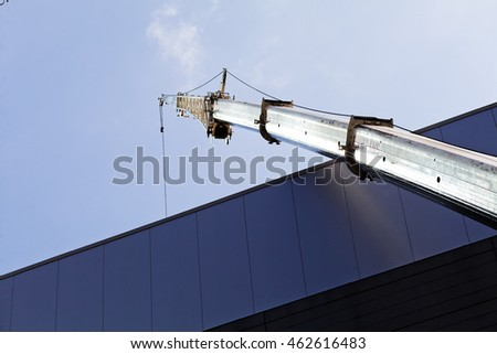 transfer cargo crane on a building