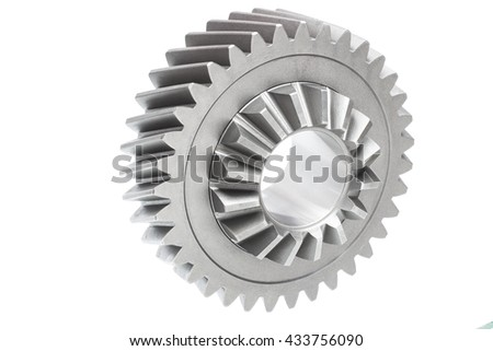 transfer gear automotive differential or transfer case on a white background. The picture is made in a horizontal position - stock photo