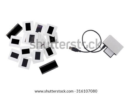 transfer image from analog  to digital  - stock photo