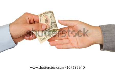 Transfer of money between man and woman, isolated on white
