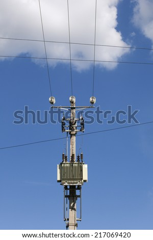 Transformer and power lines on electric pole