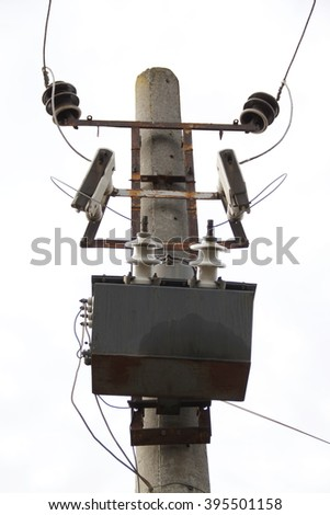 Transformer on power station with wire line - stock photo