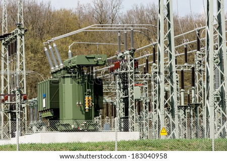 Transformer station in Germany - stock photo