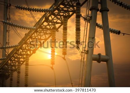 Transformer substation - stock photo