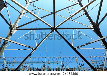 Transformer substation view - stock photo