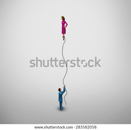 Transgender concept and gender identity symbol or sex reassignment surgery idea as half a man holding a floating balloon with the female part as a metaphor for the struggle of sexual identity. - stock photo