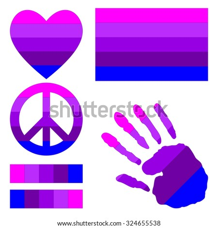 Transgender pride flag, heart, pacific sign, equality symbol and hand print for you design. Collection of gay culture symbols. Raster version. - stock photo