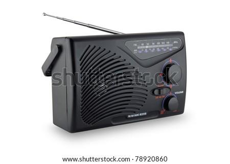 Transistor radio isolated on white background - stock photo