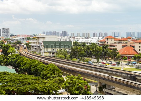 Transit train arrive to station in morning. - stock photo