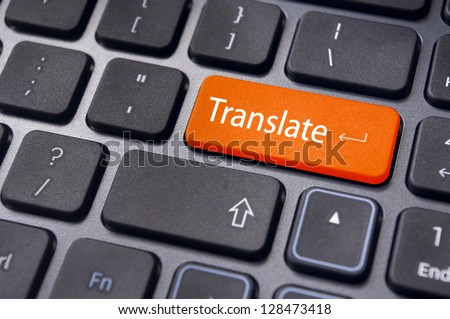 translate button on computer keyboard, translation of languages. - stock photo