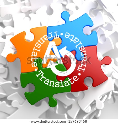 Translate on Multicolor Puzzle. Communication Concept. - stock photo