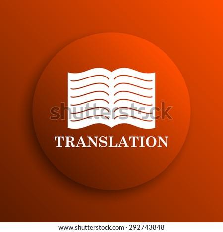 Translation book icon. Internet button on orange background  - stock photo