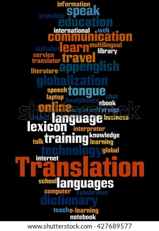 Translation, word cloud concept on black background.