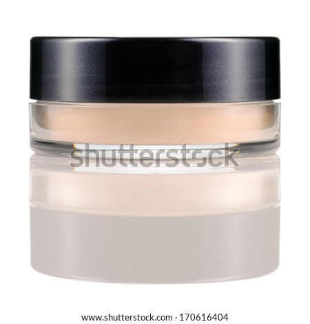 Translucent loose powder in a jar isolated on white background. Make-up product with silk. - stock photo