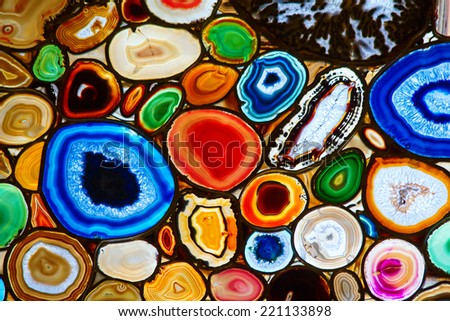 Translucent mosaic made with slices of agate stone - stock photo