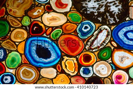 Translucent mosaic made with slices of agate stone