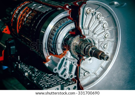 Transmission car. Prepared for the layout to study - stock photo