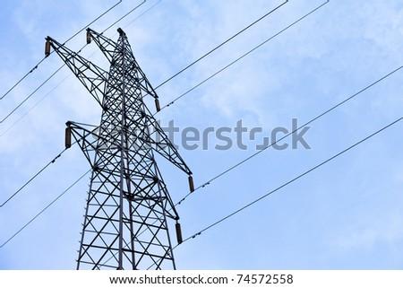 Transmission power line - stock photo
