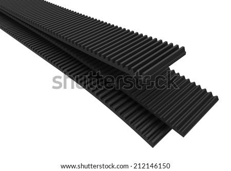 Transmission rubber belts, ribbed - stock photo