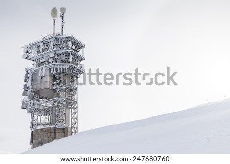 Transmission tower in winter