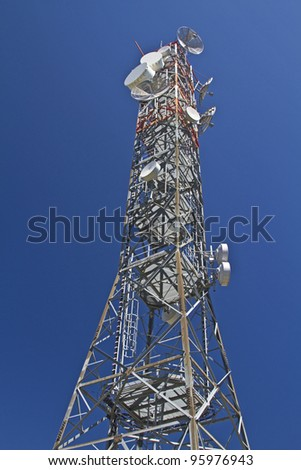 Transmission tower on Col Vidal