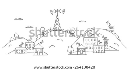 Transmission tower on landscape with wireless signal waves - stock photo