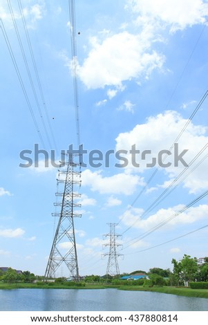Transmission tower, power tower, electricity pylon, high voltage power lines, wire on blue sky background