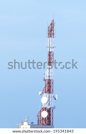 Transmitter tower at the top of building