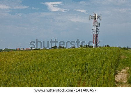 Transmitter tower on an agricultural field
