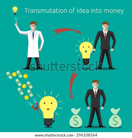 Transmutation of idea into money concept. Creativity, innovation, business, success, money, investments, wealth concept - stock photo