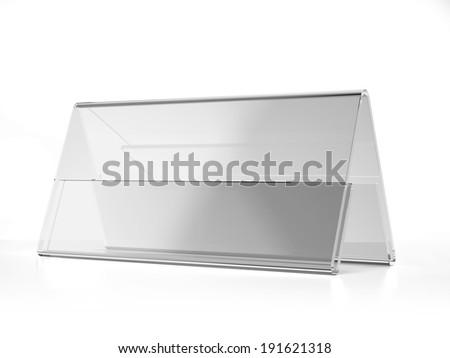 transparent acrylic wide desk display - stock photo